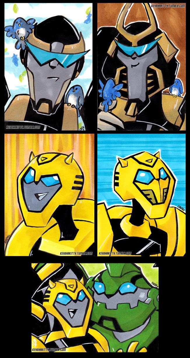 Transformers animated ATCs by KeyshaKitty