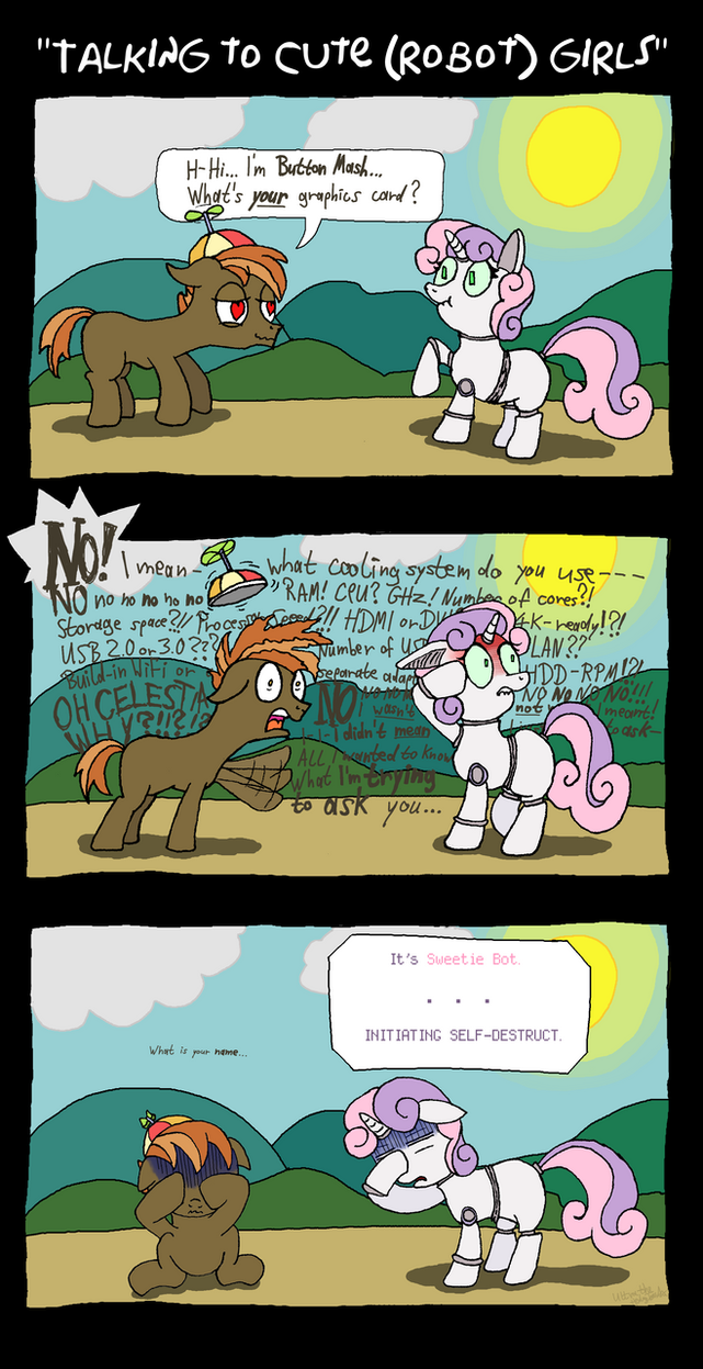 Button Mash X SweetieBot: Talking to (robot) girls by UltraTheHedgetoaster