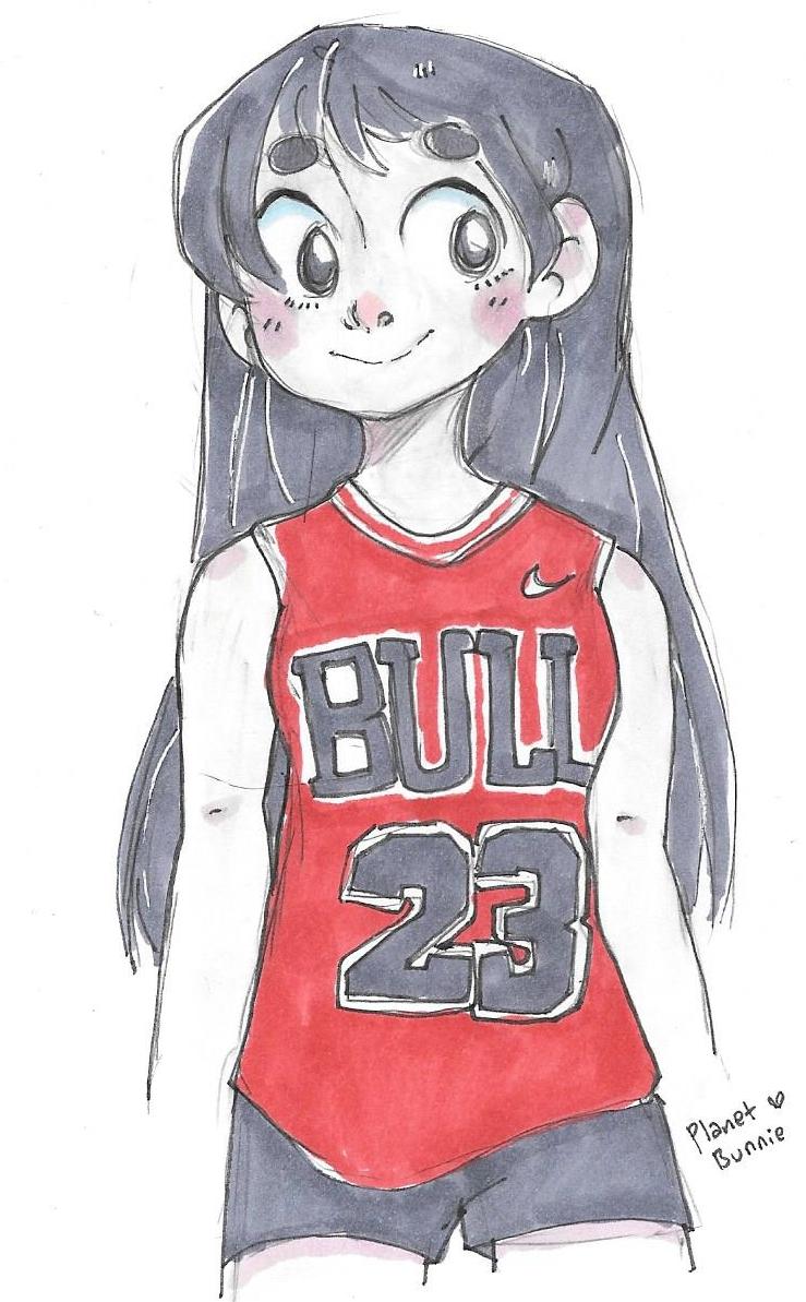 Rei Hino in a Michael Jordan jersey by FromEquestria2LA