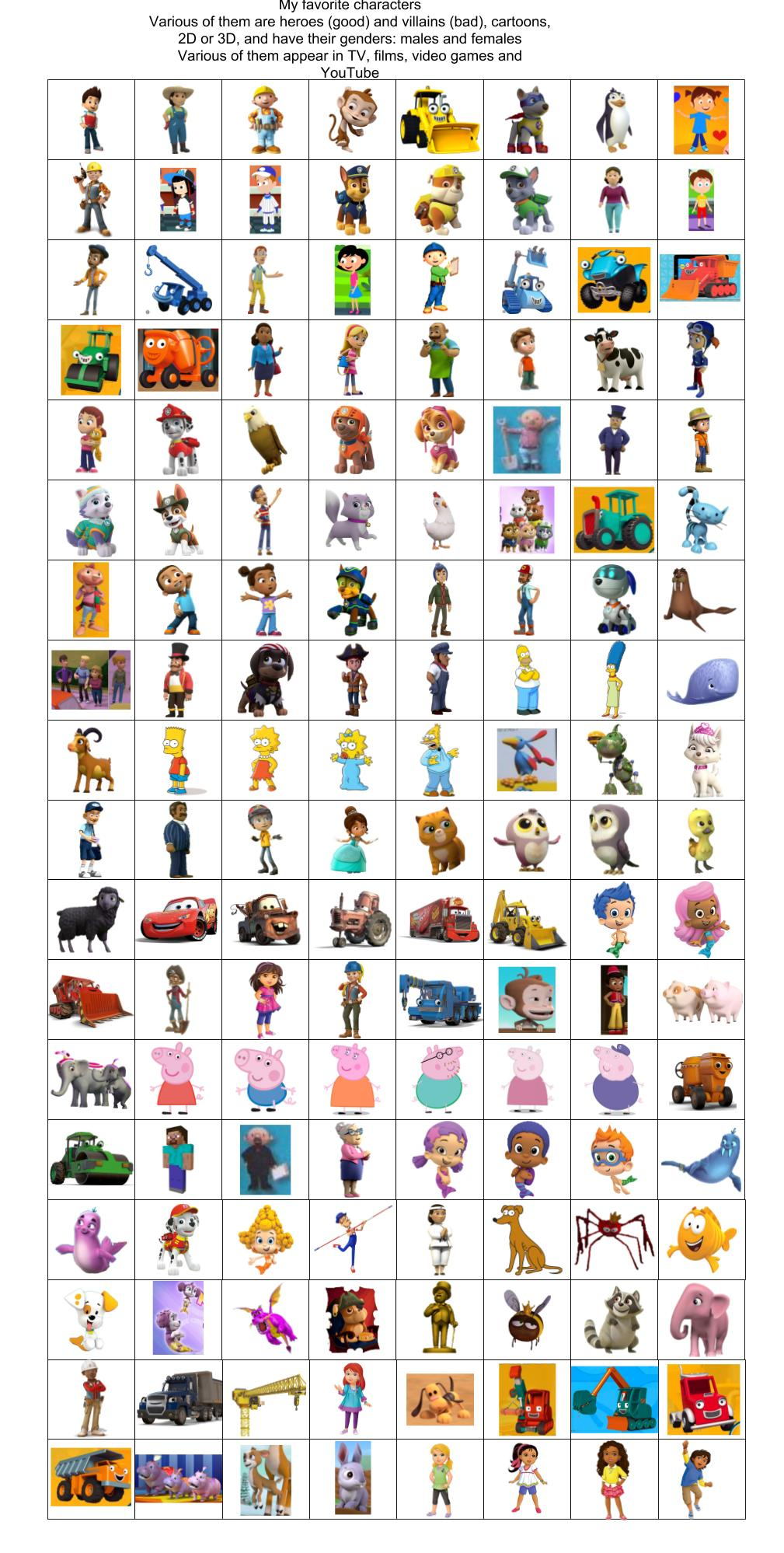 various cartoon characters by agustinsepulvedave on deviantart various cartoon characters by