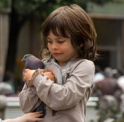 little girl whit a dove by ydna333