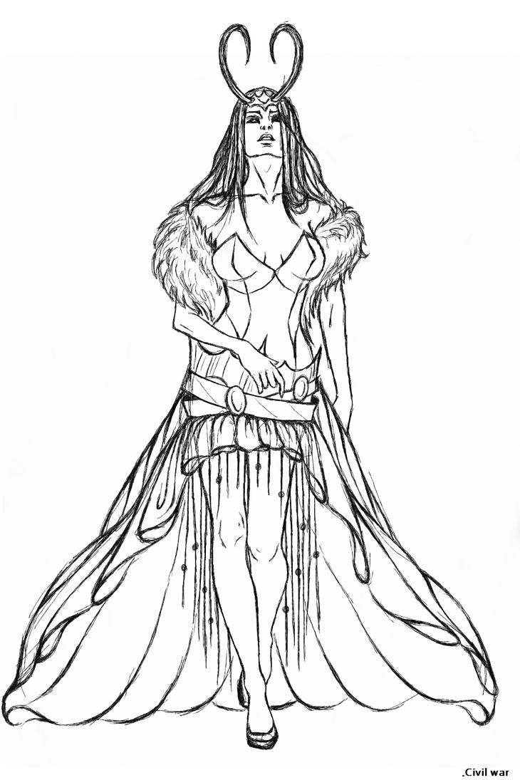 Line Drawing Queen : Ice queen lady loki lineart by the alef on deviantart