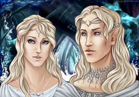 Galadriel and Finrod Felagund (with Nauglamir) by the-ALEF