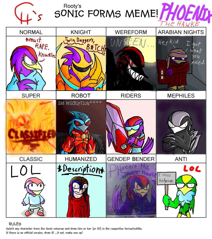 Sonic Forms: Sonic Forms Meme- Phoenix By LeadHeart787 On DeviantArt
