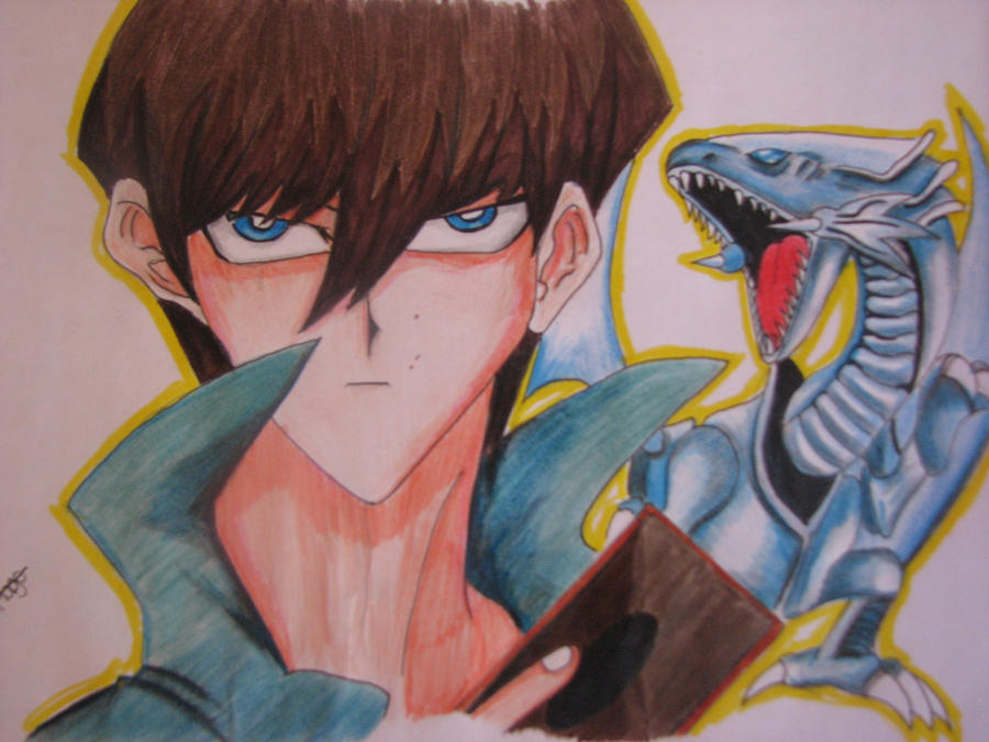 Commission: Kaiba and his Blue Eyes White Dragon by TheGaboefects