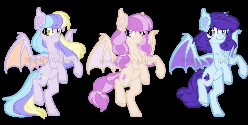 Bat Pony Adoptables - SOLD - 3/3 by MonkFishyAdopts