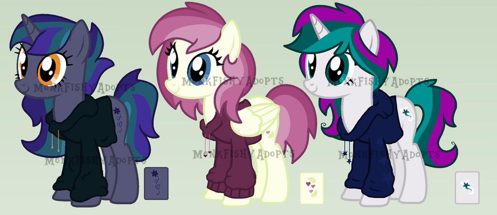 Three Ponies in Hoodies Adoptables - 3/3 OPEN by MonkFishyAdopts