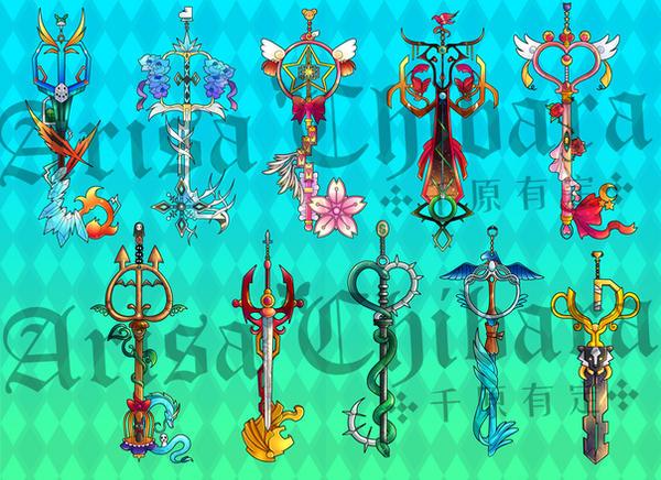 Various anime inspired keyblades by arisa-chibara