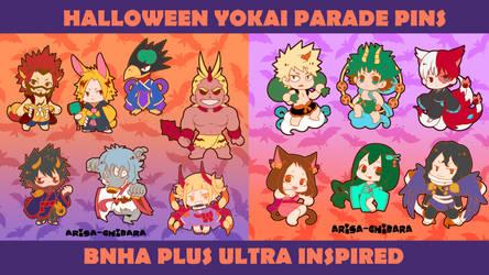 BNHA Halloween Yokai Parade Pins Kickstarter by arisa-chibara