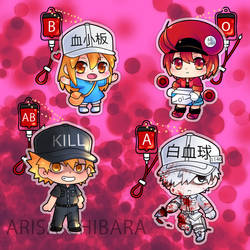 Cells at work blood type charms by arisa-chibara