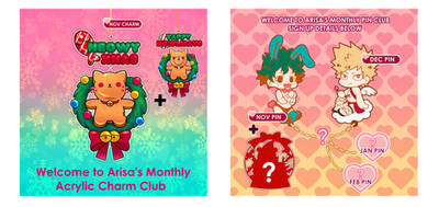 Monthly Pin and Acrylic club by arisa-chibara