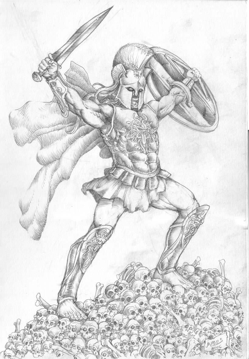 Greek God Ares Drawing Ares God of War by Cim...