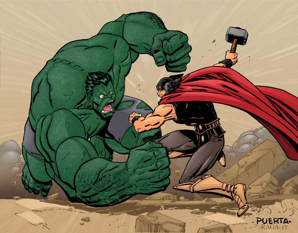 Hulk vs Thor by Salvador-Raga