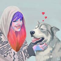 Corrie happy with Dog