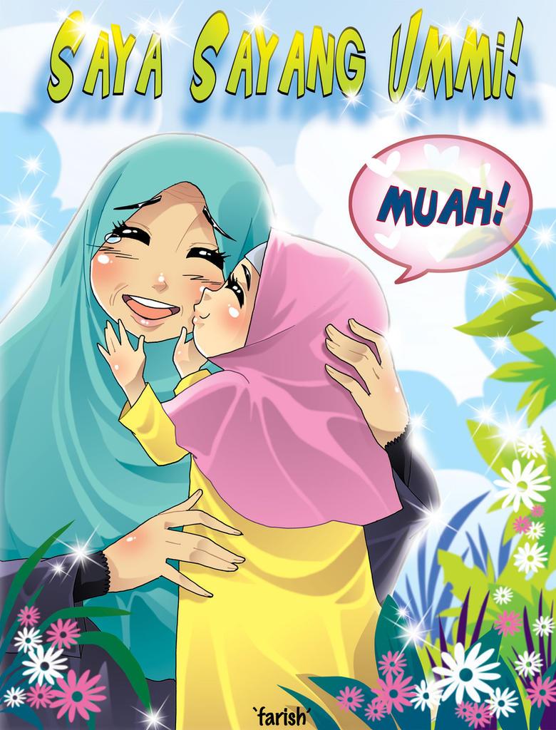41 Gambar Kartun Ibu Dan Anak Berhijab Gratis Terbaik