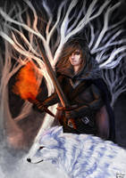 Jon Snow and Ghost by 4kat