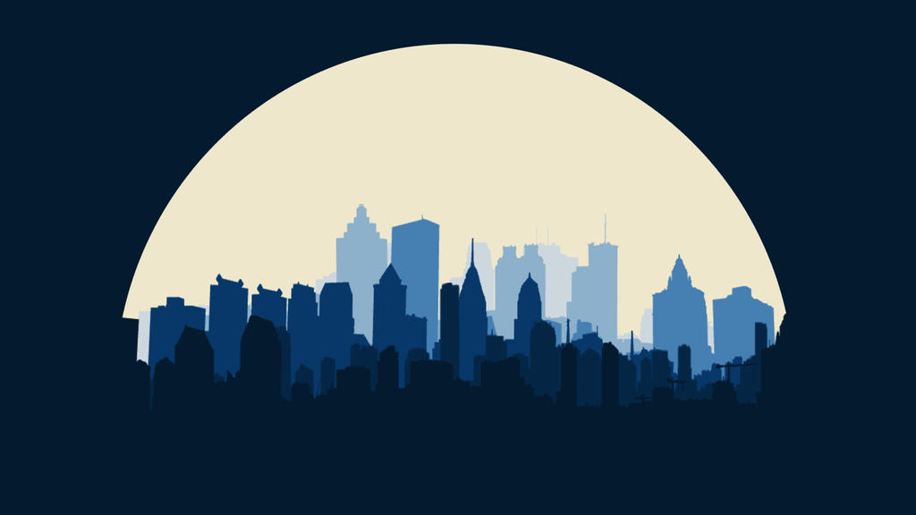 flat full moon city landscaped wallpapers 4k by designuchiha