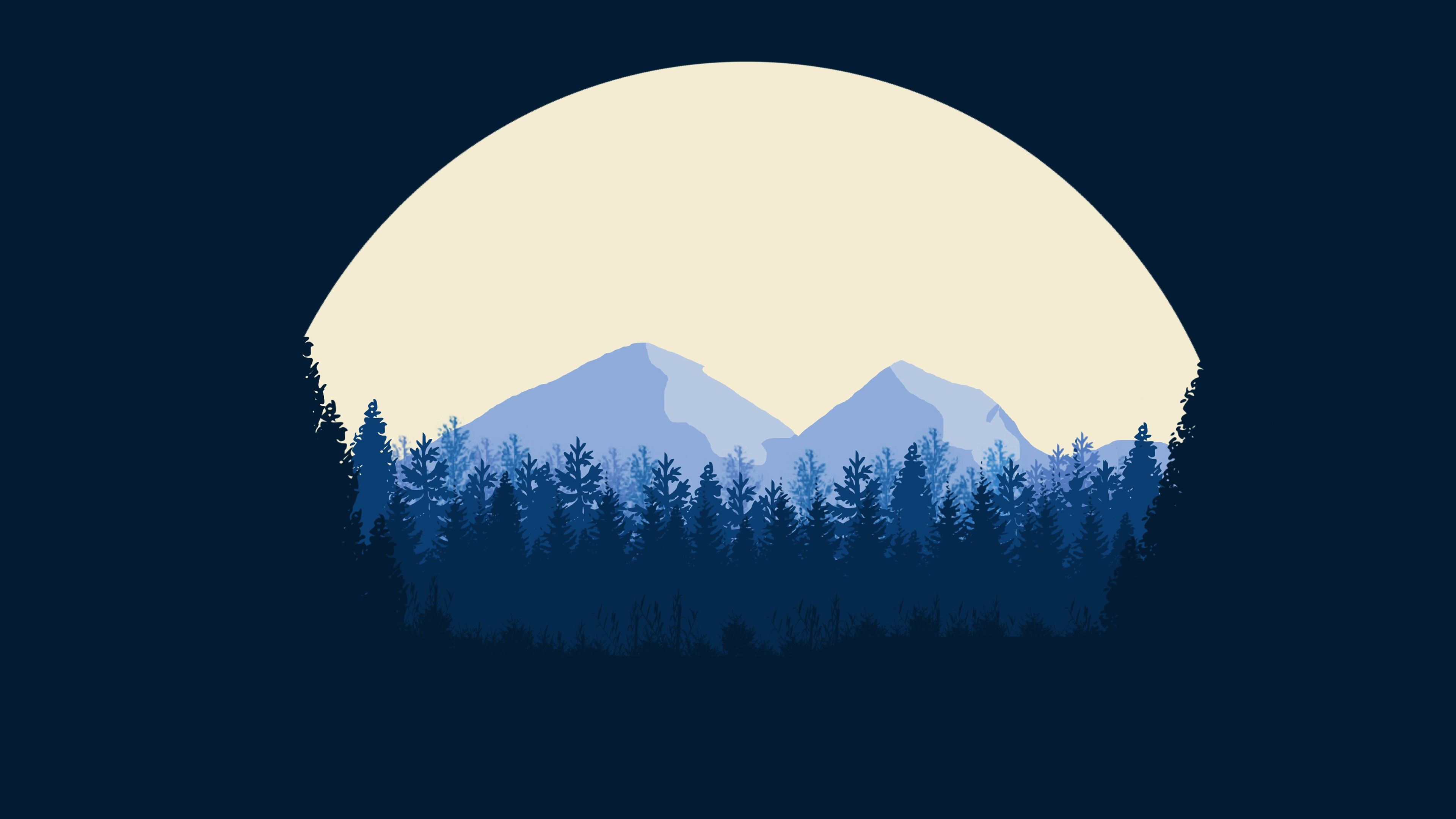full moon forest flat wallpaper 4k by designuchiha