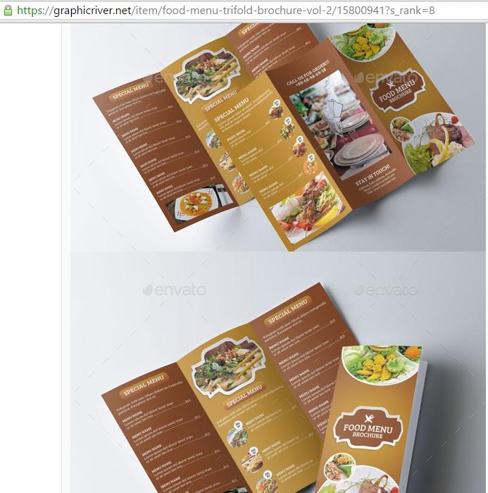 Food Menu TriFold Brochure Template Vol By ITcroc On DeviantArt - Menu brochure template