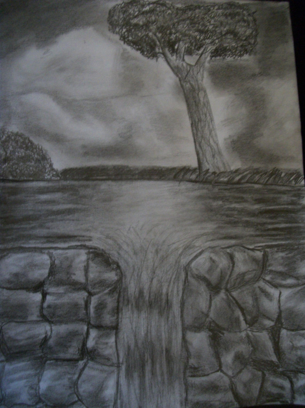 Rocks and waterfall Realistic pencil drawing by ...