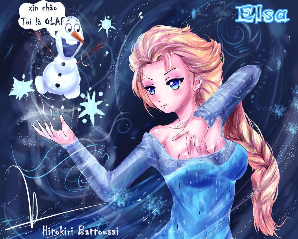 Elsa and Olaf by H-Battousai