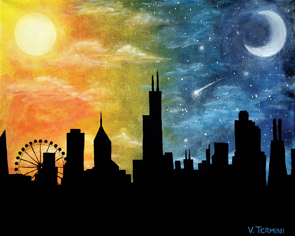 Day Night Chicago by sugushmeaky on DeviantArt