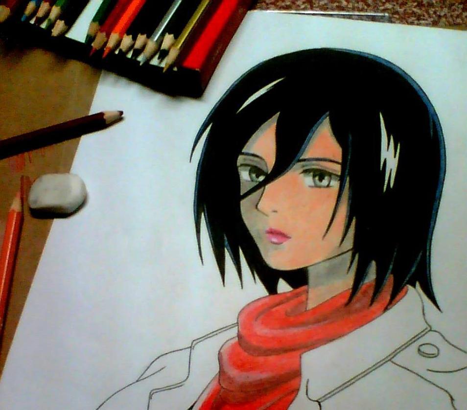 Mikasa Ackerman W.I.P. by DeathsAngel15