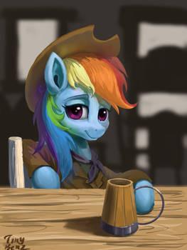 Rainbow dash Drinking in the Saloon