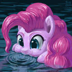 Pinkie pie is blowing bubbles
