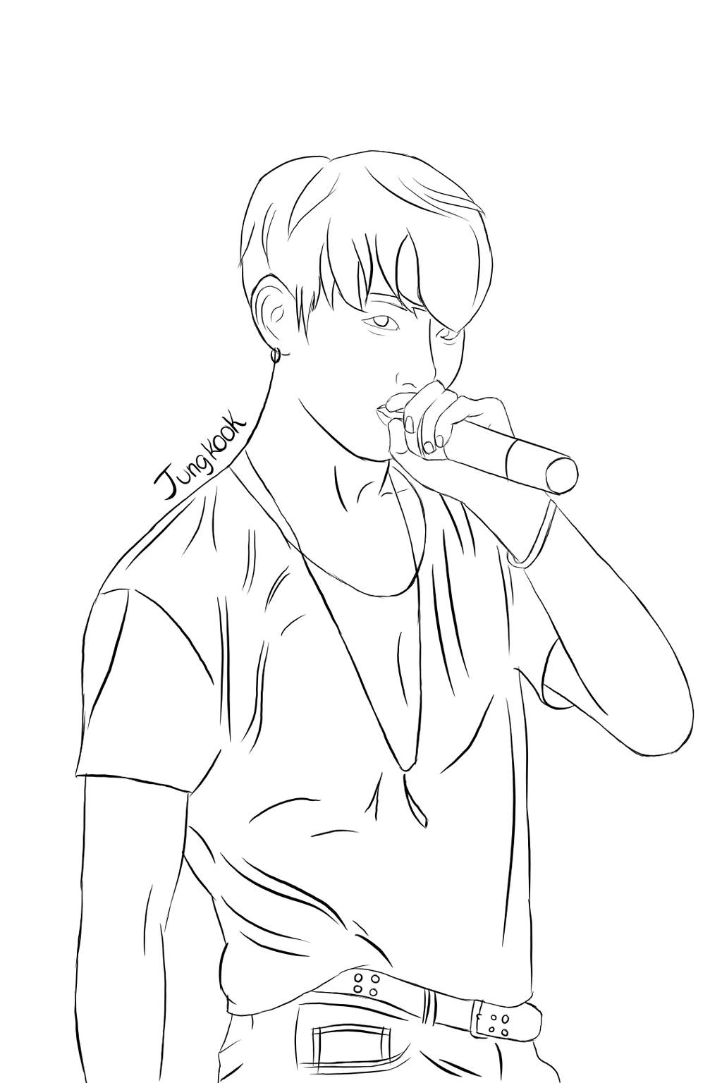 Line Drawing Tumblr Tutorial : Jungkook lineart by kidocat on deviantart