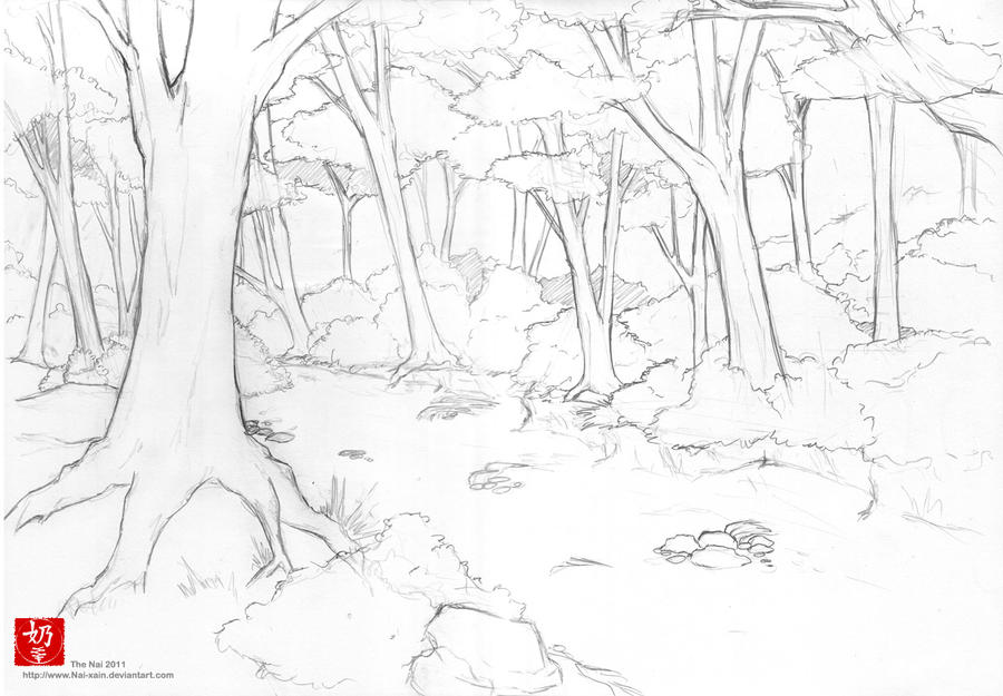 Line Art Forest : How to draw a rainforest