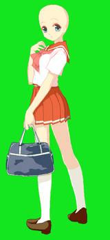 Seifuku girl and bag