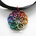 Rainbow Celtic Flower Pendant