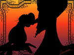 Jafar's and iago's silhouettes