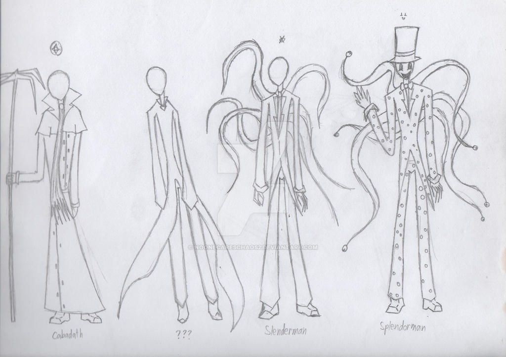 4 Tall, faceless, slender figures by NoonecaresCHaOs2