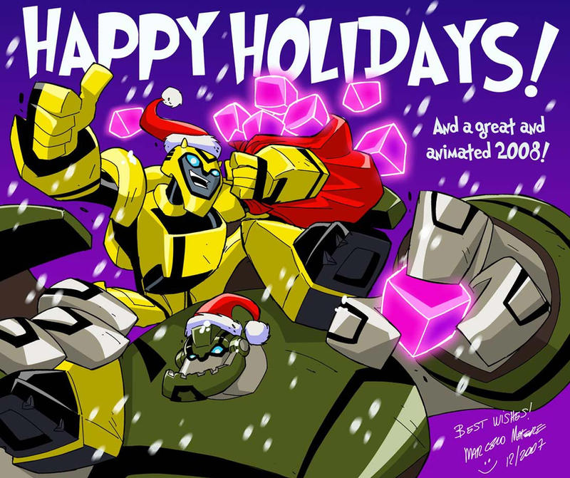 [Pro Art et Fan Art] Artistes à découvrir: Séries Animé Transformers, Films Transformers et non TF Happy_Animated_Holidays_by_mmatere