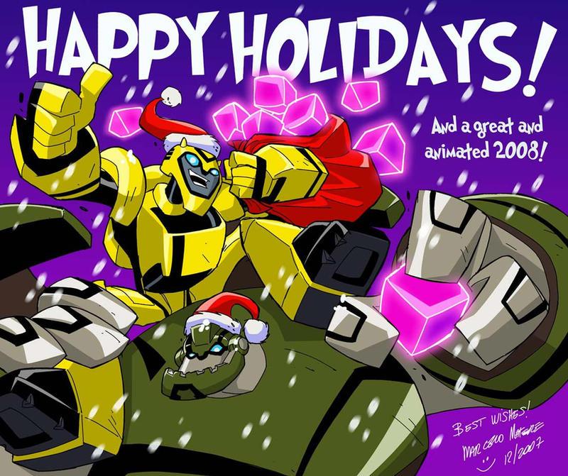[Pro Art et Fan Art] Artistes à découvrir: Séries Animé Transformers, Films Transformers et non TF Happy_Animated_Holidays_by_mmatere