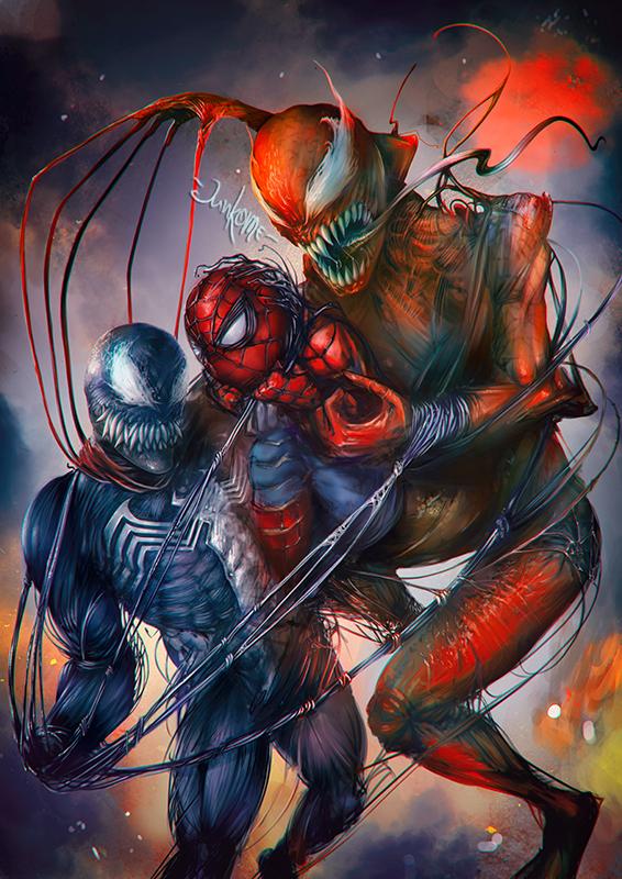 Venom - Spider-Man - Carnage by junkome
