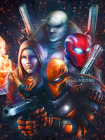Deathstroke / RedHood / Anarky / Hush by junkome