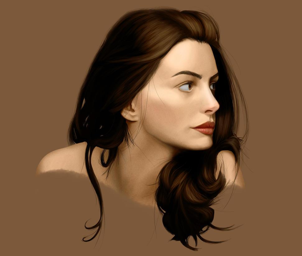 Anne Hathaway Drawing: Anne Hathaway Portrait By ArK-Seraph On DeviantArt