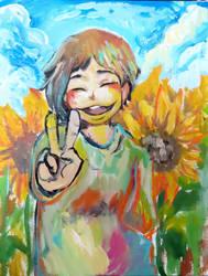 girl, sunflower