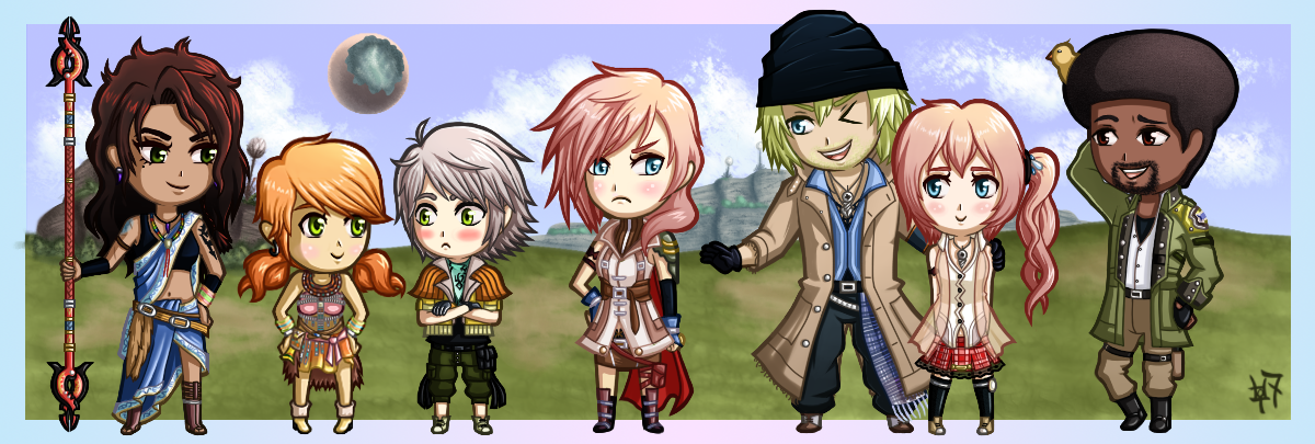 Final Fantasy XIII - Chibi Group by Zaziki7