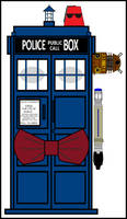 TARDIS with a Fez and Bowtie by WALLE1Doctor1Who