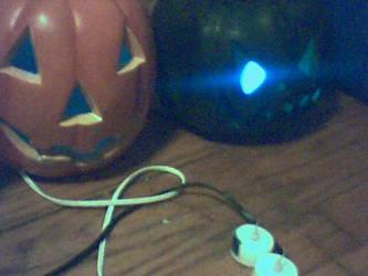 Old Blue Lit Pumpkins
