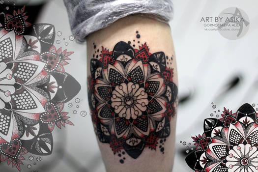 Tattoo dotwork mandala. By my sketch