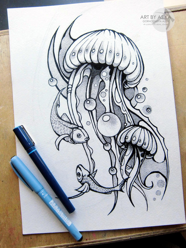 Jellyfish Tattoo Sketch Tattoo Sketch Dotwork by