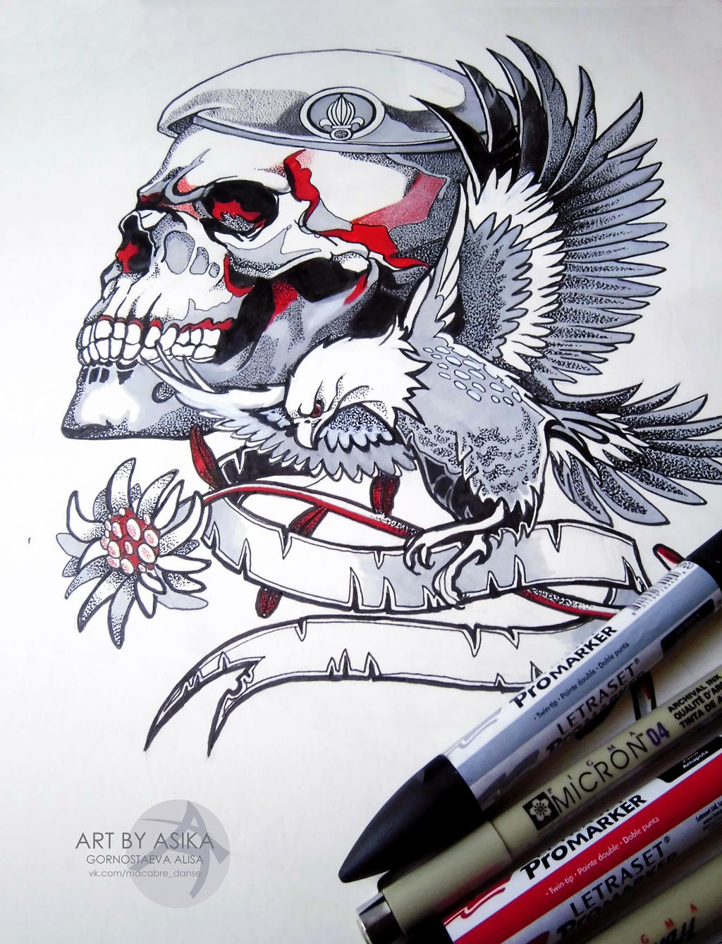 Skull. Tattoo sketch/ Dotwork by AsikaArt