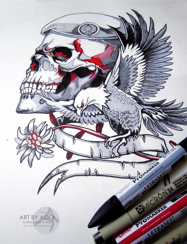 Skull. Tattoo sketch/ Dotwork by AsikaArt