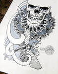 Skull, dotwork, ornamental. Tattoo sketch.