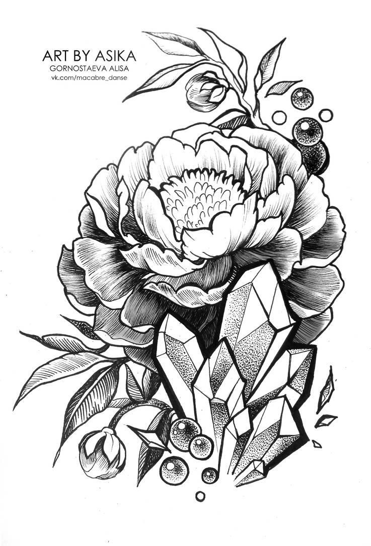 f05787627 Peony. Tattoo flash, dotwork. by AsikaArt on DeviantArt